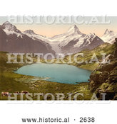 Historical Photochrom of Cows Grazing by Pond and Bernese Alps by Al