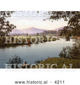 Historical Photochrom of Cows Grazing in a Pasture ALong the Gavenny River with a View of the Sugar Loaf Mountain in Abergavenny Monmouthshire Gwent Wales England UK by Al