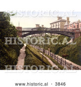 Historical Photochrom of Cows on Paths Under the Jubilee Bridge in Belle Vue Park in Lowestoft Suffolk East Anglia England UK by Al