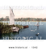 Historical Photochrom of Ducks and Men in Boats on the Trinity Broads Ormesby Norfolk Engngland by Al