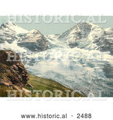Historical Photochrom of Eiger Glacier in Switzerland by Al