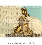 Historical Photochrom of Equestrian Monument, Venice, Italy by Al