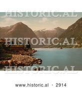 Historical Photochrom of Essefjord, Balholm, Sognefjord, Norway by Al