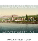 Historical Photochrom of Evian Les Bains on Geneva Lake, Switzerland by Al