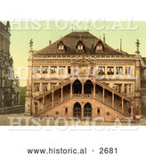 Historical Photochrom of Facade of the Town Hall in Berne, Switzerland by Al