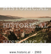 Historical Photochrom of Fjeldveien, Bergen, Norway by Al