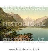 Historical Photochrom of Fluelen on Lake Lucerne, Switzerland by Al