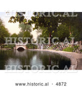 Historical Photochrom of Footbridge over the Pond in Pittville Gardens, Cheltenham, Gloucestershire, England by Al