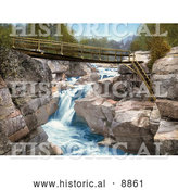 Historical Photochrom of Footbridge over the Upper Falls of the Ammonoosuc River in the White Mountains of New Hampsire by Al