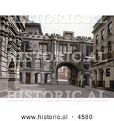 Historical Photochrom of Gateway with a Clock in Stonebows Lincoln Lincolnshire England by Al