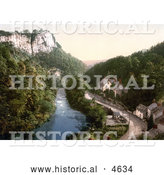 Historical Photochrom of Historical Stock Photography of the Tor Cottage (High Tor Hotel) on the River Derwent with a Spectacular View of the High Tor in Matlock, Derbyshire, England by Al