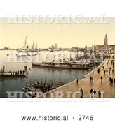 Historical Photochrom of Hohenzollern in Venice Harbor, Venice, Italy by Al