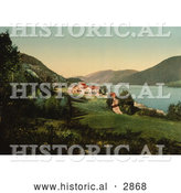 Historical Photochrom of Homes on the Waterfront, Tinnoset, Telemark, Norway by Al