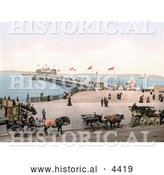 Historical Photochrom of Horse Drawn Carriages and People at the West End Pier in Morecambe Lancashire England UK by Al