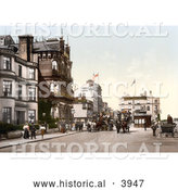 Historical Photochrom of Horse Drawn Carriages on a Street near Hotels in Ryde Isle of Wight England UK by Al