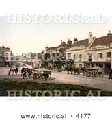 Historical Photochrom of Horses Pulling Loads on High Street in Battle Rother East Sussex England UK by Al