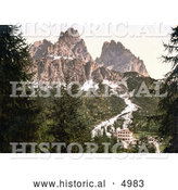 Historical Photochrom of Hotel Buildings near Monte Cristallo with Tre Croci, Tyrol, Austria by Al