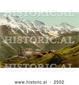 Historical Photochrom of Hotel Murren in Switzerland by Al