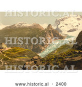 Historical Photochrom of Hotel Schwarzsee with a View of Monte Rosa by Al