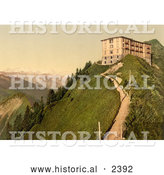 Historical Photochrom of Hotel Stanserhorn in Switzerland by Al
