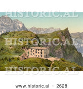 Historical Photochrom of Hotel Trubsee in Switzerland by Al