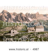 Historical Photochrom of Hotels near Schlernhaus and Rosengarten Group, Tyrol, Austria by Al