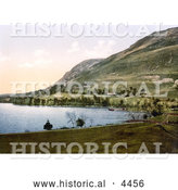 Historical Photochrom of Howtown Bay on Ullswater Lake, Lake District, England, United Kingdom by Al