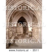 Historical Photochrom of Human Skulls and Skeletal Remains Stacked in the Ossuary Bone Store of the Church Crypt in Hythe Kent England by Al