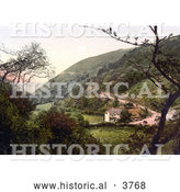 Historical Photochrom of Hunter's Inn near the Bay in Lynton and Lynmouth Devon England UK by Al