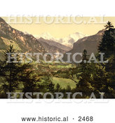 Historical Photochrom of Jungfrau, Monch and Eiger Mountains of the Swiss Alps by Al