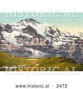 Historical Photochrom of Jungfrau Mountain and Scheidegg Pass by Al