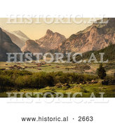 Historical Photochrom of Kandersteg Village in Switzerland by Al