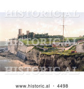 Historical Photochrom of Kingsgate Castle Above Kingsgate Bay Broadstairs Thanet Kent England UK by Al