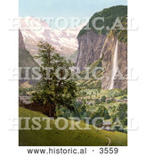 Historical Photochrom of Lauterbrunnen and Staubbach Falls, Interlaken, Berne, Bernese Oberland, Switzerland by Al