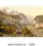 Historical Photochrom of Lauterbrunnen Valley in Switzerland by Al