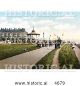 Historical Photochrom of Lee's Promenade and the Bandstand in Folkestone Kent England by Al