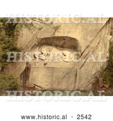Historical Photochrom of Lion Monument in Switzerland by Al