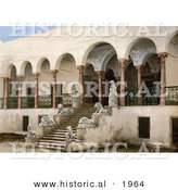Historical Photochrom of Lion Statues on Staircase at Bardo, Tunis, Tunisia by Al