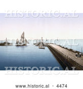 Historical Photochrom of Lowestoft, Suffolk, East Anglia, England, United Kingdom by Al