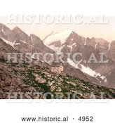 Historical Photochrom of Madron Hut and Presanella, Tyrol, Austria by Al