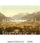 Historical Photochrom of Maloja in Switzerland by Al
