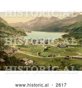 Historical Photochrom of Maloja Palace in Switzerland by Al