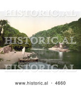 Historical Photochrom of Man Rowing a Boat Ashore on the Old Mill Creek Dartmouth Devon England by Al