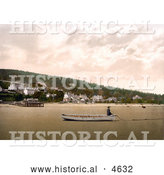 Historical Photochrom of Man Sitting in a Boat on the Sand at Low Tide in Grange-over-Sands, Cumbria, England by Al