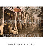 Historical Photochrom of Men at Storefront in Tunis, Tunisia by Al