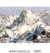 Historical Photochrom of Men Climbing the Mont Pers Glacier, Upper Engadin, Graubunden, Switzerland by Al