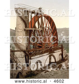 Historical Photochrom of Men on Top of the Laxey Wheel or Lady Isabella, Laxey, Isle of Man, England by Al