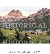 Historical Photochrom of Misurinasee and the Three Spires (Derl Zinnen), Tyrol, Austria by Al