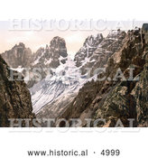 Historical Photochrom of Monte Cristallo and Piz Popena Group, Tyrol, Austria by Al