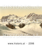 Historical Photochrom of Monte Rosa and Gorner Glacier in Switzerland by Al